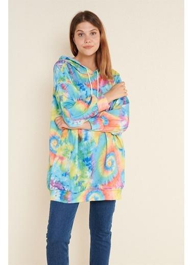 Z Giyim Kapşonlu Oversize Sweat Elbise Renkli